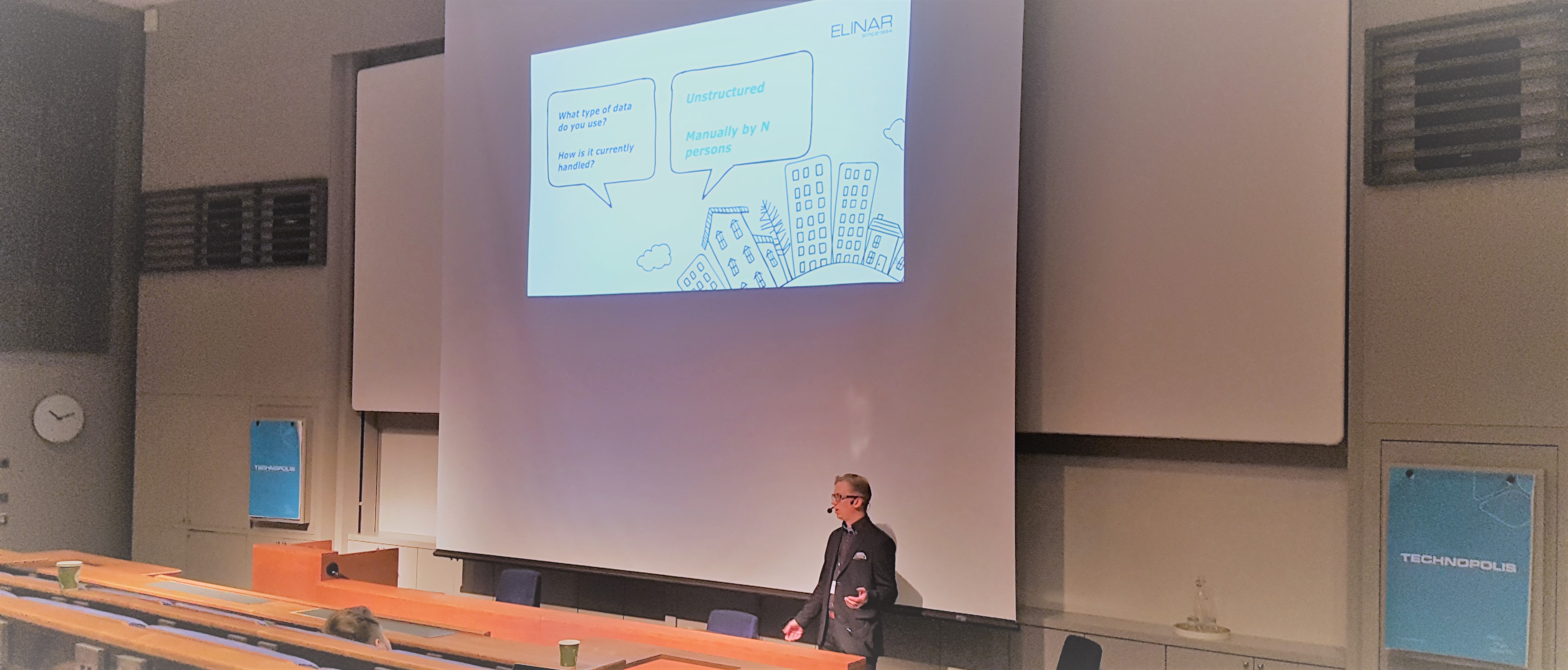 AI-event in Oulu, Petri Sysilahti speaking