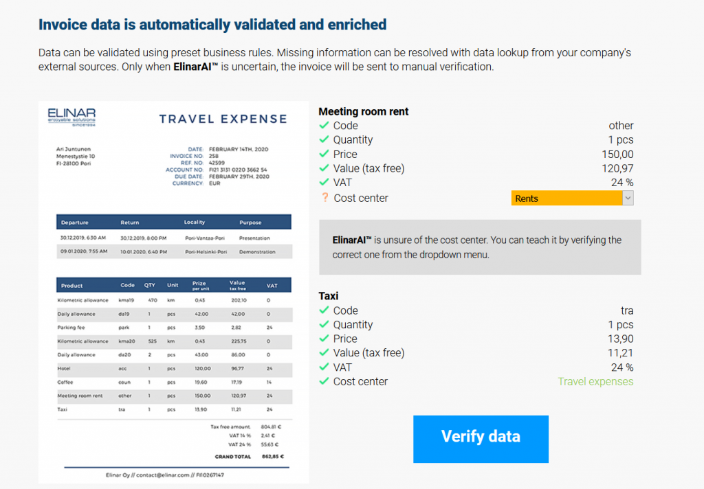 Invoice data is automatically validated and enriched