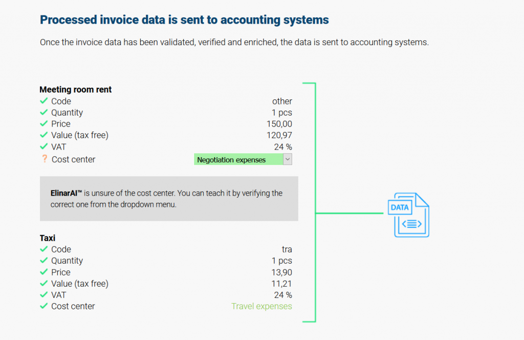Automate invoice accounting - Processed invoice data is sent to accounting systems